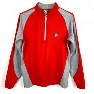 Footjoy Junior 1/4 Zip Shell Golf Pullover Red and Gray Size Large